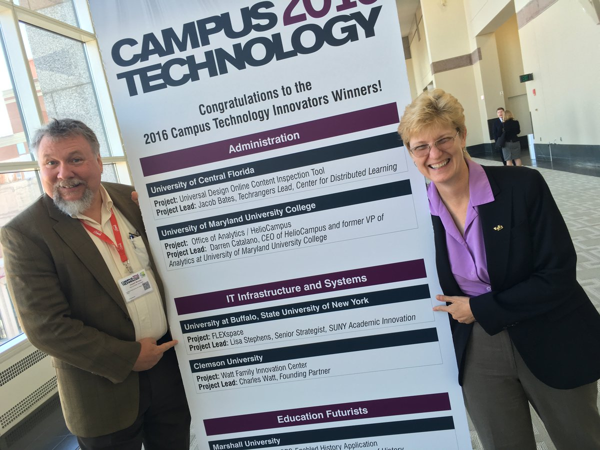 Joe and Lisa all smiles getting the Campus Technology Innovators Award!