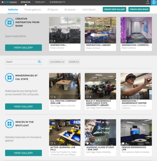 FLEXspace now has curated Galleries to showcase campus spaces and learning space resources!